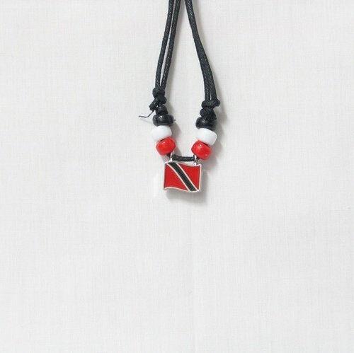 TRINIDAD & TOBAGO  COUNTRY FLAG SMALL METAL NECKLACE CHOKER .. NEW