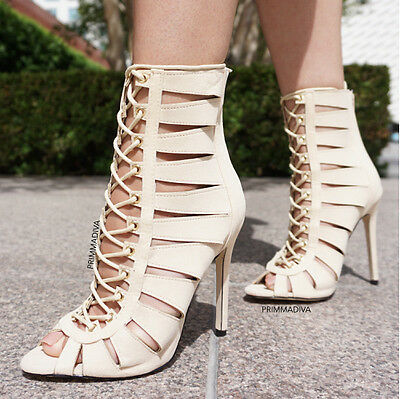 Nude High Cut (NUDE CUT OUT LACE UP FAUX SUEDE HIGH HEELS STILETTO FASHION SINGLE SOLE BOOTIE)