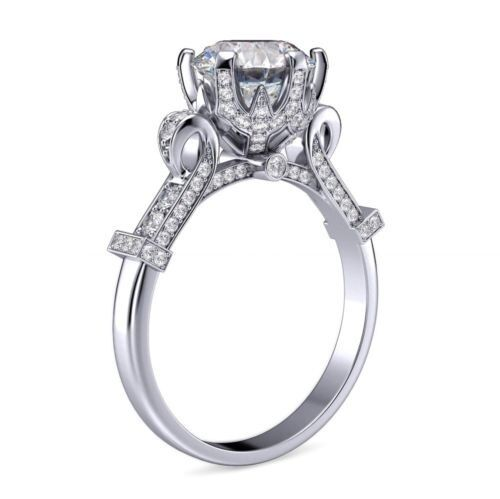 Lovely 1.70 Ct Round Cut Diamond Cinderella Engagement Ring Pave F,VS2 GIA 18K  2
