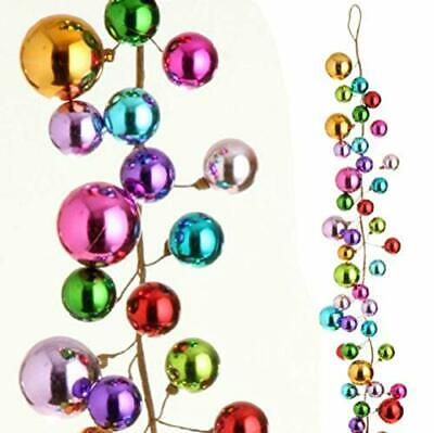 Multicolored Ornament Ball Garland, 4 Feet~Festive Christmas Holiday Decorations