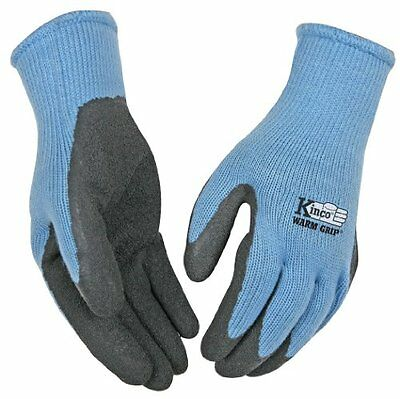 (KINCO 1790W-M Women's Warm Grip Thermal Latex Coated Gloves, Medium, Blue/Gray)