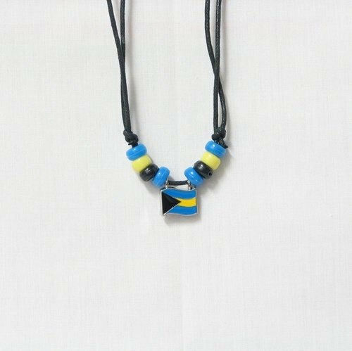 BAHAMAS COUNTRY FLAG SMALL METAL NECKLACE CHOKER .. NEW