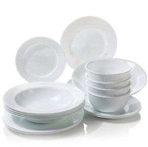 Corelle-for-Joy-Mangano-16pc-Dinnerware-Set-amp-Platter-WHITE-DIAMOND-17pc-total