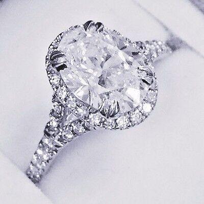 New 2.25 Ct Oval Cut Halo Diamond Split Shank Engagement Ring F,VS1 GIA 18K