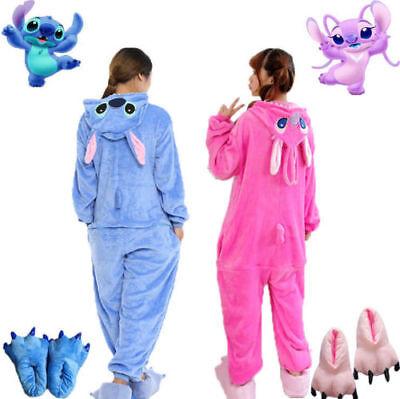 Adult Unisex Animal Blue/Pink Stitch Kigurumi Pajamas Costume Cosplay Angel Lilo - Stitch Adult Costume