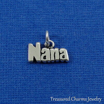 Sterling 925 Charm Pendant - 925 Sterling Silver Nana Charm - Grandma Grandmother Grandchild Pendant NEW