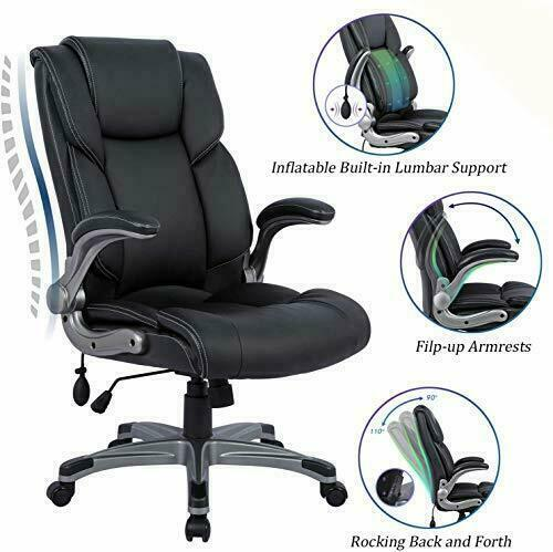 Big & Tall Leather Office Chair Adjustable Tilt Angle Executive (Black)