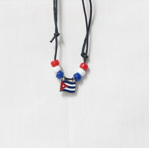 CUBA  COUNTRY FLAG SMALL METAL NECKLACE CHOKER .. NEW