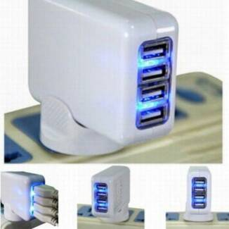 4 Port USB AC Adapter Plug Home Travel Wall Charger