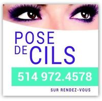 Pose d'extension de cils