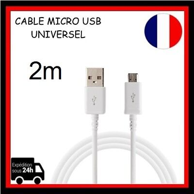 Cable Micro USB 2m Data Sync Chargeur pour Samsung S6 Smartphone Tablette...