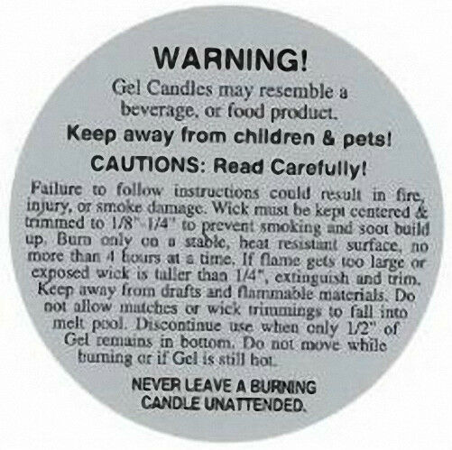 Safety & Burning Instruction Labels (2 inches) for GEL Candles (1000 count)