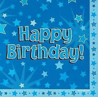 Azul Cumpleaños Holográfico Servilletas de Papel X 16