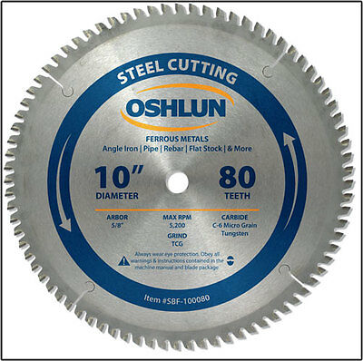 "OSHLUN  SBF-100080  10"" x 80T Steel Cutting Saw Blade"