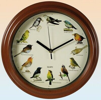 Wanduhr Birds mit Vogelstimmen Uhr Kinderuhr 31cm Wanduhren Uhren Holzoptik
