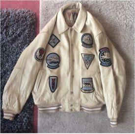 Avirex Black Aces leather bomber jacket classic 90s hip hop New York streetwear