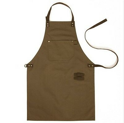 miss oh/canvas suede leather apron (Khaki) Handmade High-quality large