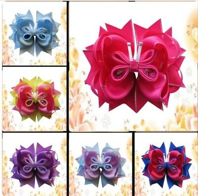 "10 BLESSING Girl Boutique 5.5"" Butterfly Hair Bow Clip Accessories  for sale  Shipping to India"