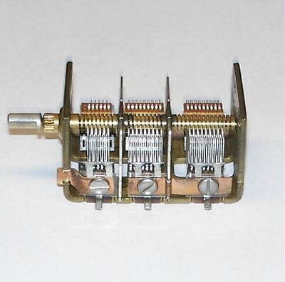 Vernier Multiturn 3 Section Variable Air Capacitor Vacuum Tube Radio Cap Nos