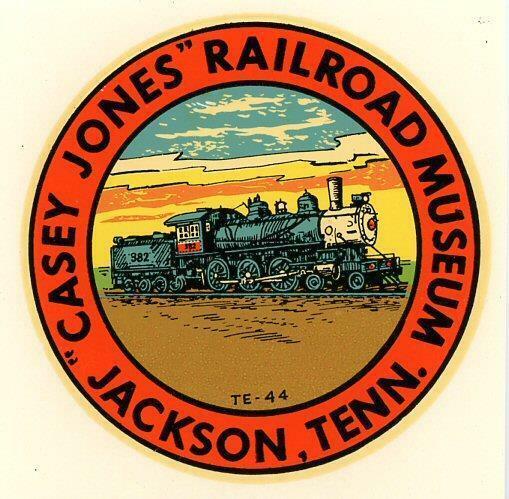 VINTAGE CASEY JONES RAILROAD MUSEUM TRAIN JACKSON TENNESSEE STATE TRAVEL DECAL