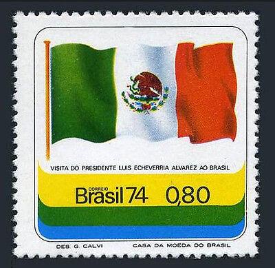 Brazil 1355, MNH. Visit of President Luis Echeverria Alvares of Mexico.Flag,1974
