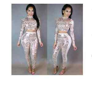 Gold and white 2 piece outfit large by fairview mall Kitchener / Waterloo Kitchener Area image 1