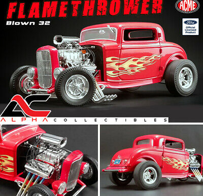 "ACME A1805016 1:18 1932 FORD BLOWN 3 WINDOW HOT ROD ""FLAMETHROWER"" RED"