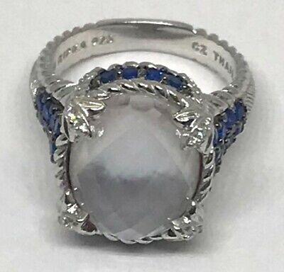 Judith Ripka Quartz Mother of Pearl Blue CZ Sterling Silver Ring, Sz 7.75