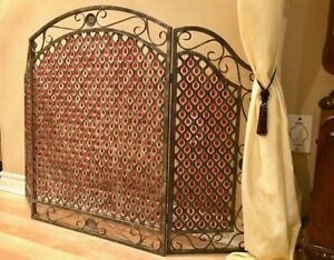 Unique, metal fireplace screen with red beads $115 OBO
