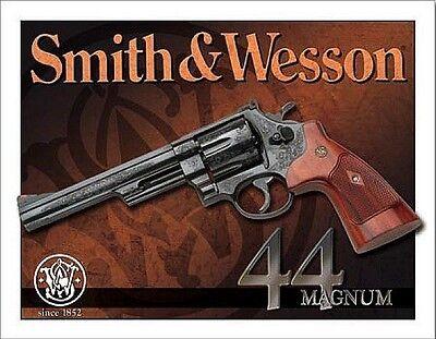 Vintage Replica Tin Metal Sign Smith & Wesson 44 Magnum Pistol Revolver Gun 1463