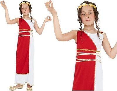 Childrens Girls Fancy Dress Grecian Girl Costume Childs Greek Roman Outfit New - Greek Girl Outfit