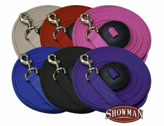 Showman 25 ft LUNGE LINE Flat Cotton Blend Web with BRASS Snap & Rubber Stopper