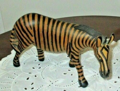 hand carved vintage wooden zebra