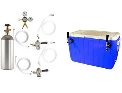 Double Faucet Coil Cooler Complete Kit - Ready To Pour Jockey Box Draft Setup