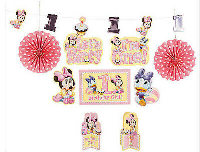 BABY MINNIE MOUSE 1st birthday DECORATING KIT first party 10pcs Disney supplies - Baby Minnie First Birthday