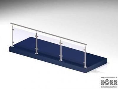 3m Geländer I-Form Boden Glashalter + Edelstahl Handlauf Terrasse Windschutz