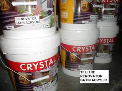 EXTERIOR PAINT 15 LITRE SATIN ACRYLIC WHITE MOST SURFACES