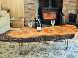 Solid Natural Edge Pippy Oak Coffee Table