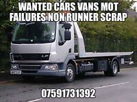 Scrap cars vans mot failures non runners spare repairs wanted free collection top prices paid