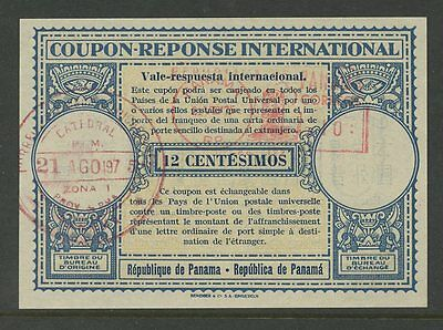 PANAMA REPLY PAID COUPON IRC 12c...VERY FINE + CLEAN...ADDITIONAL METER FRANKING