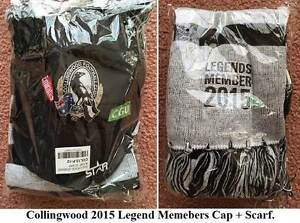 COLLINGWOOD OFFICIAL 2015 Legends Member Cap+Scarf. NEW in Packet Wembley Cambridge Area Preview