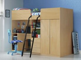 High Sleeper Bed (with built in wardrobe, desk, drawers)