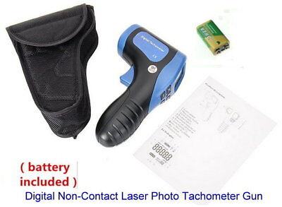 Tachometer Gun Digital Non-contact Laser Photo Tach Tester Meter Rpm Wbatteries