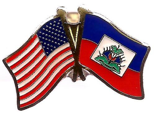 LOT OF 12 Haiti Friendship Flag Lapel Pins - Haiti Crossed Flag Pin