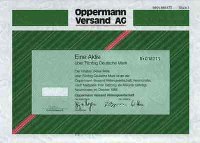 Oppermann AG Werbemittel 1988 Hamburg Neumünster Hach 50 DM Versandhausn Aktie