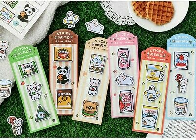 Lot 6 Cute Cartoon Cat Animal Sticky Notes Memo Pad Kawaii Stationery Sticker