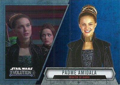 2016 Topps Star Wars Evolution Blue Lightsaber Parallel #15 Padme Amidala (Padme Lightsaber)