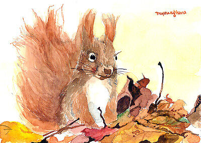 ACEO Limited Edition- Animal art print, Ah fall, Cute squirrel in autumn