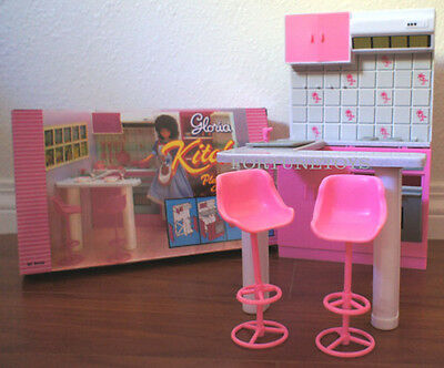 GLORIA DOLL HOUSE FURNITURE SIZE KITCHEN w/Island+Stools PLAYSET FOR BARBIE