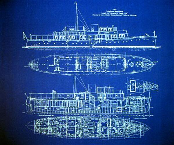 "Vintage 136 foot American Yacht 1931 Blueprint Drawing 20""x24"" (009)"
